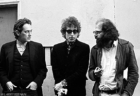 Michael McClure, Bob Dylan, and Allen Ginsberg. Copyright by Larry Keenan